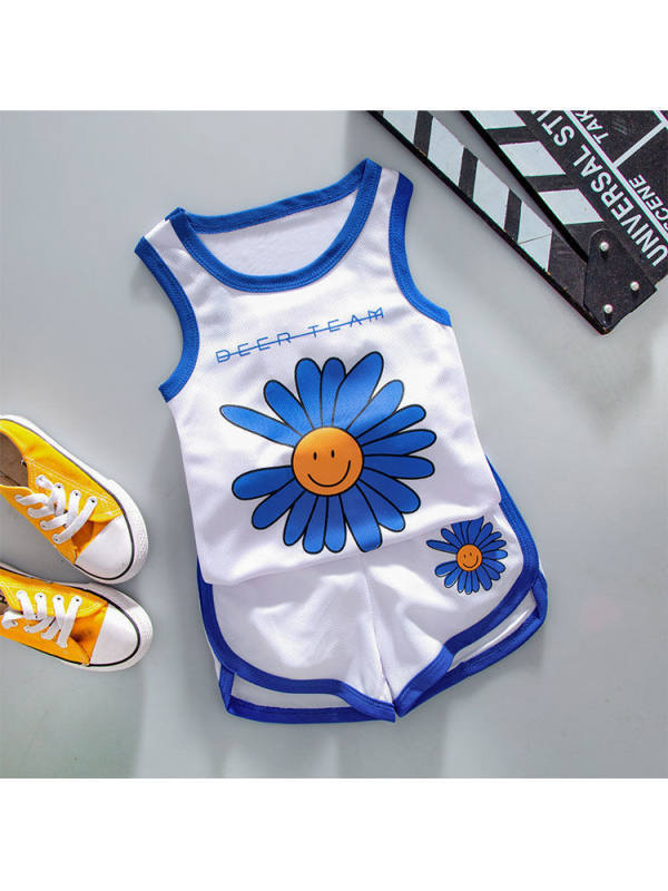 【12M-4Y】Boys Daisy Print Tank Top Shorts Casual Sports Suit
