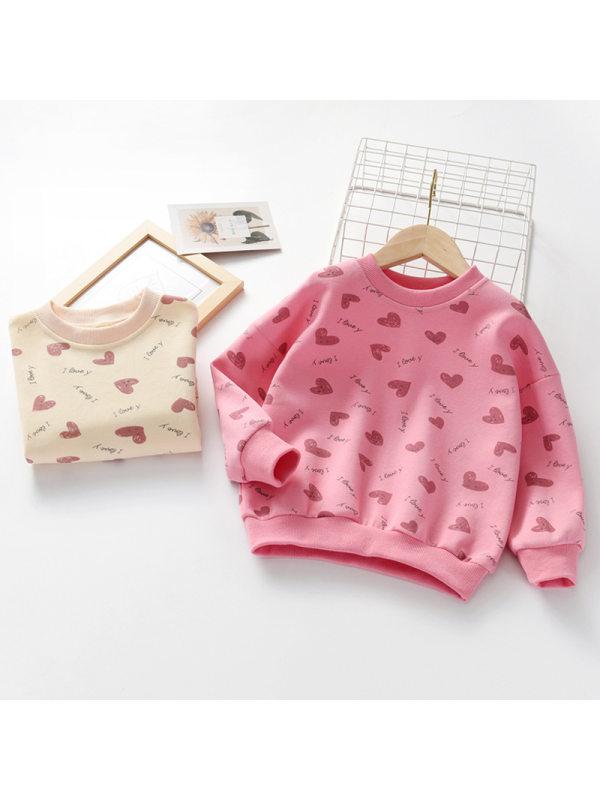 【3Y-11Y】Girls Round Neck Love Letter Print Long Sleeve Sweatshirt