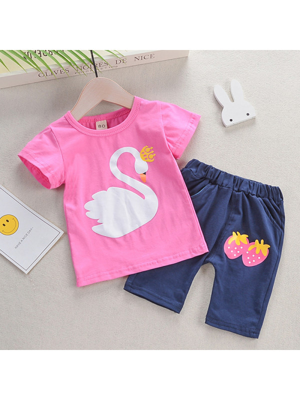 【12M-4Y】Girls Round Neck Short-sleeved Cartoon Printed Blouse With Shorts Two-piece Suit