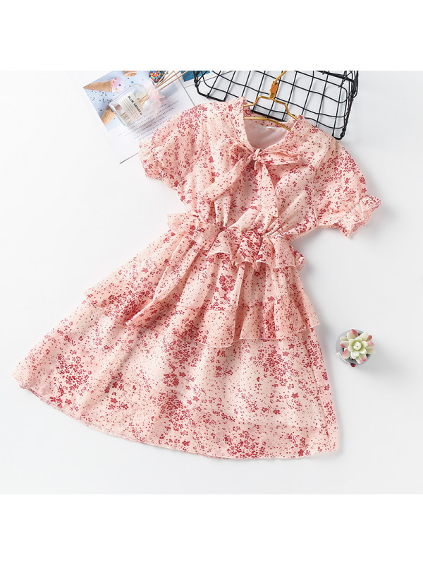【3Y-13Y】Girl Stand-up Collar Tie Puff Sleeve Dress