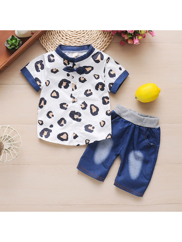 【12M-4Y】Boys Stand-collar Short-sleeved Cartoon Printed Leopard Shirt And Shorts Two-piece Suit