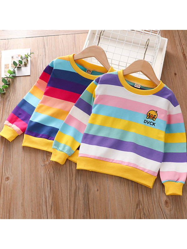 【18M-9Y】Girls Rainbow Striped Long Sleeve Loose Pullover Sweatshirt