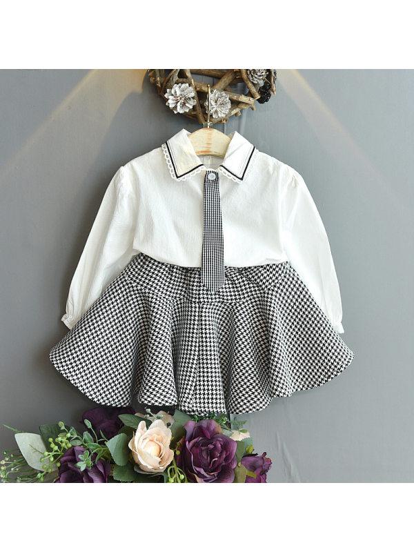 【18M-7Y】Girls Lapel Collar Fake Tie Long Sleeve Shirt With Plaid Skirt Set