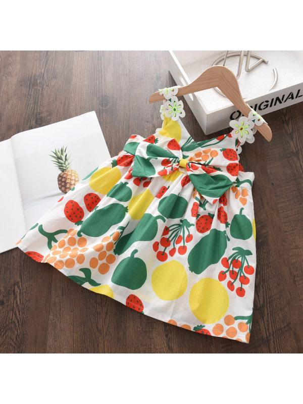【12M-9Y】Girls Floral Print Bow Dress