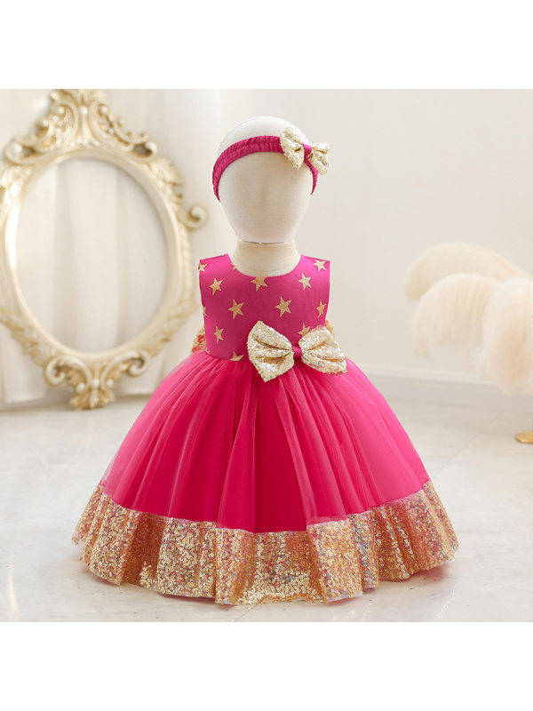 【12M-5Y】Girls Sequined Bow Tutu Dress