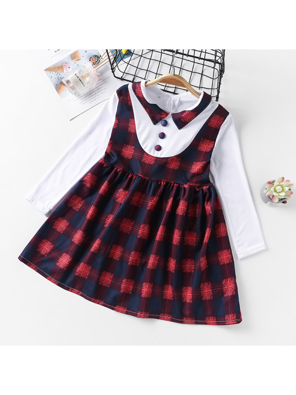 【3Y-13Y】Girl College Style Lapel Long-sleeved Plaid Dress
