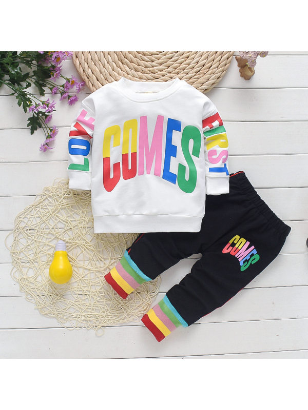 【12M-4Y】Girl Round Neck Color Letter Sweater And Trousers Two-piece  Suit
