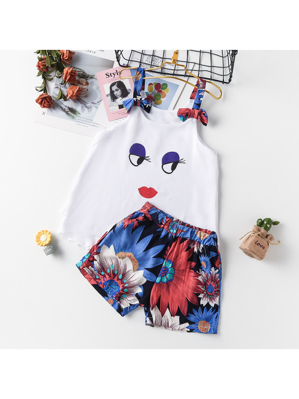 【3Y-13Y】Girl Cartoon Sling Top With Printed Shorts Two-piece Suit