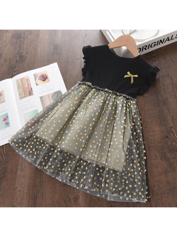 【18M-9Y】Girls Stitched Bowknot Mesh Dress