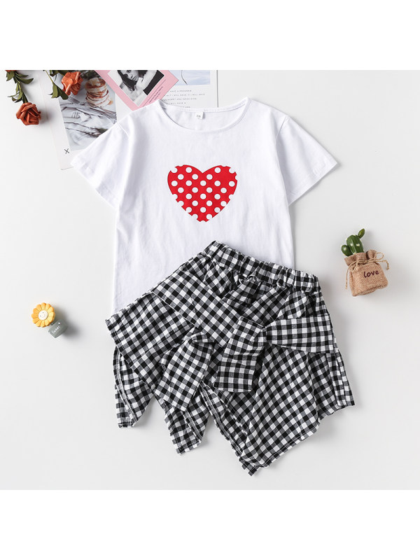 【3Y-13Y】Girl Love Print Shirt With Plaid Skirt Two-piece Suit