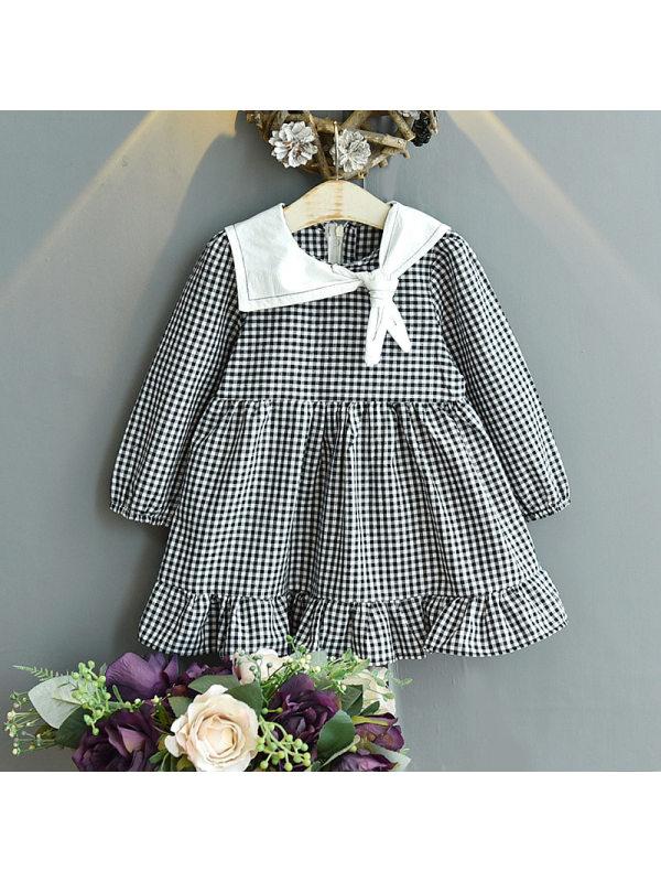 【18M-7Y】Girls Long Sleeve Plaid Dress