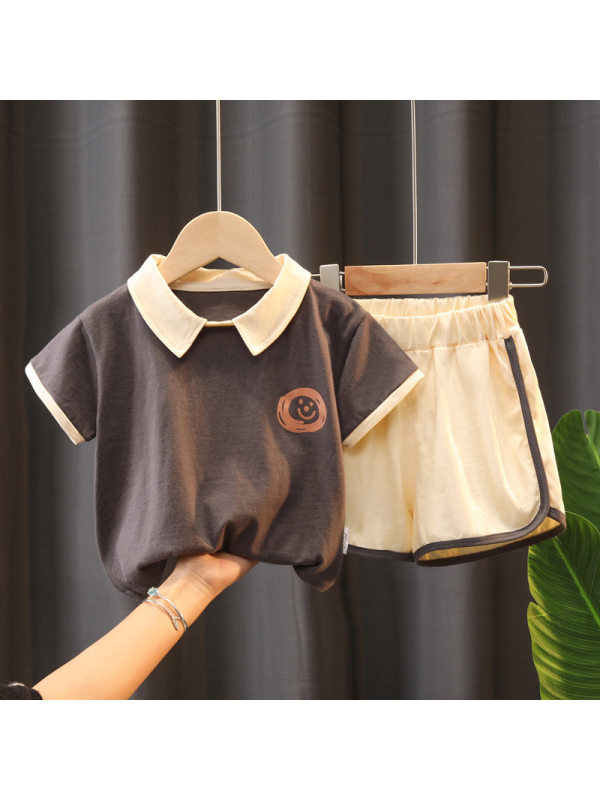 【12M-5Y】Boys Short-sleeved Lapel Polo Shirt And Shorts Two-piece Suit