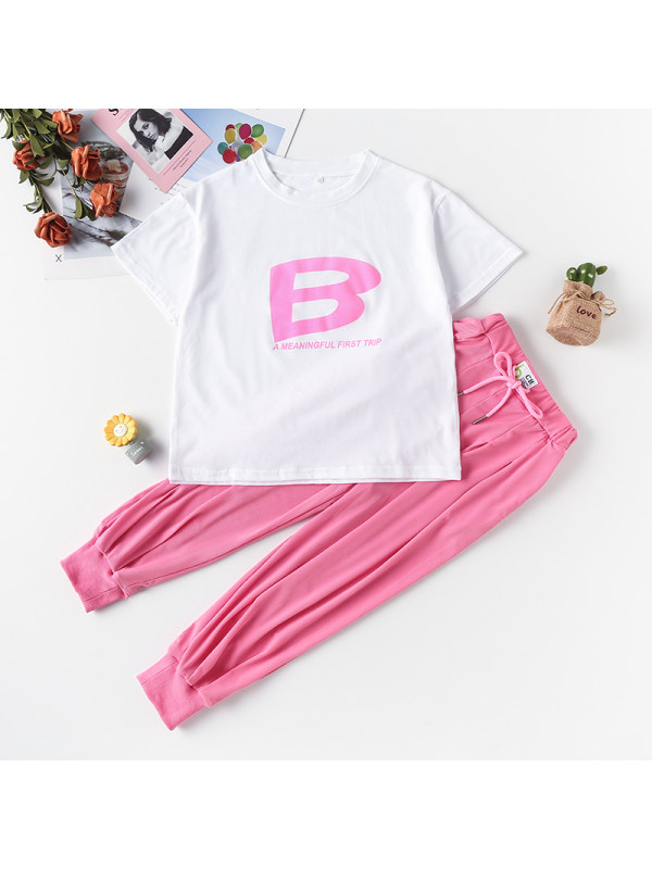 【3Y-13Y】Girl Round Neck Letter Print Top With Trousers Two-piece Suit
