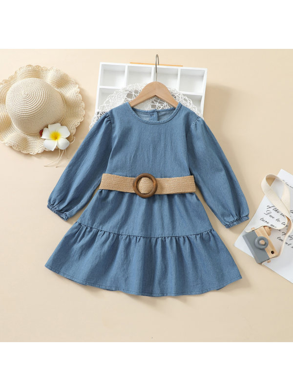 【12M-5Y】Girls Long Sleeve Denim Dress with Belt