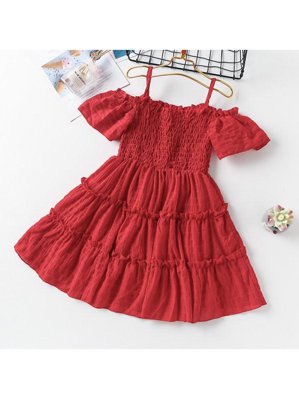【3Y-13Y】Girl Sweet Pure Color Suspender Dress
