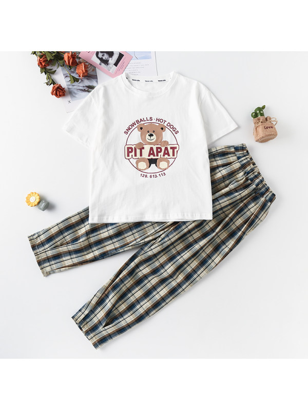 【3Y-13Y】Girl Bear Letter Print Shirt With Plaid Trousers Two-piece Suit