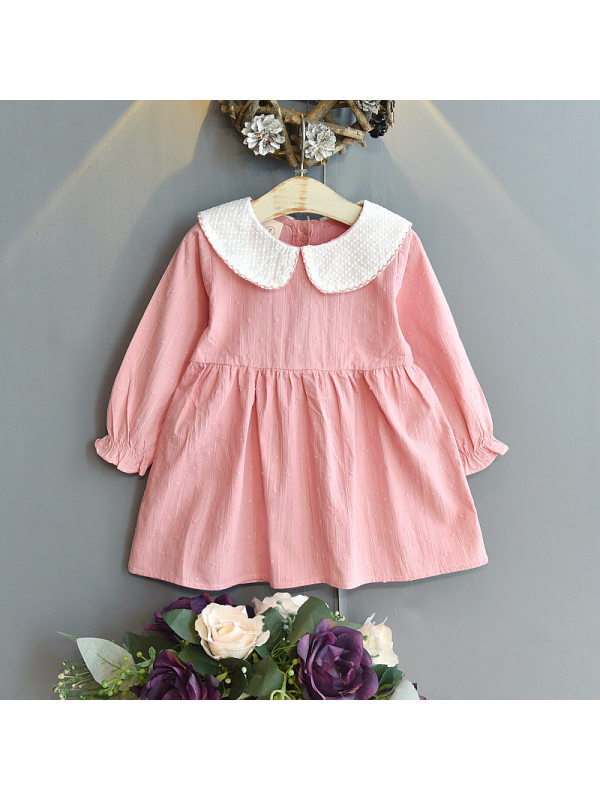 【18M-7Y】Girls Solid Color Doll Collar Dress