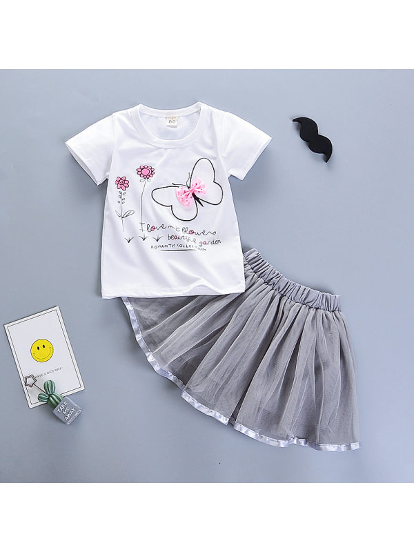 【12M-4Y】Girls Butterfly Flower Print T-shirt And Puffy Skirt Two-piece Suit