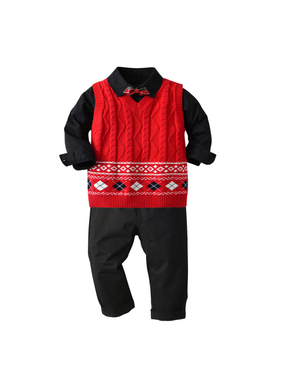 【18M-7Y】 Boys Long-sleeved Shirt Sweater Vest And Trousers Three-piece Suit