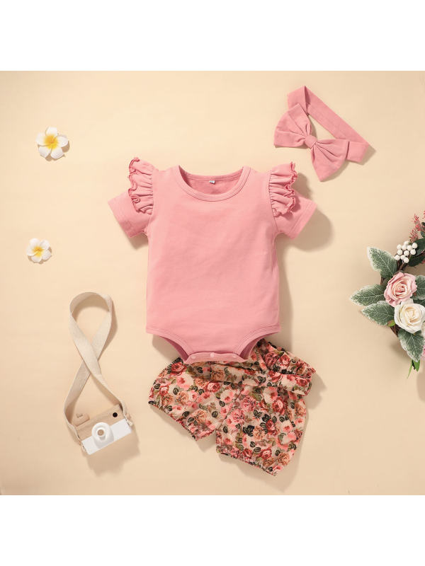 【0M-18M】Baby Sweet and Casual Style Printed Baby Suit (including Hair Band)