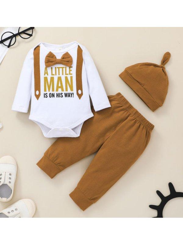 【0M-12M】Baby Boy Letter Print Three-piece Suit
