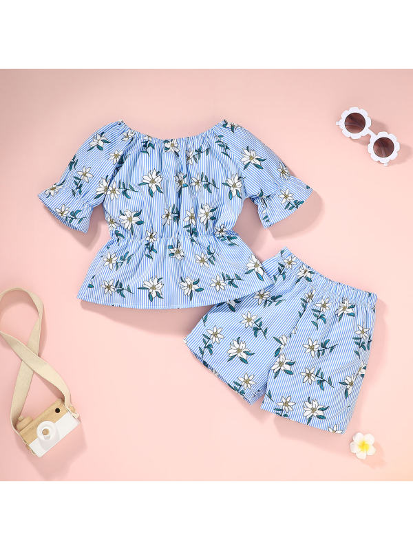 【12M-5Y】Girls Striped Floral Print Suits