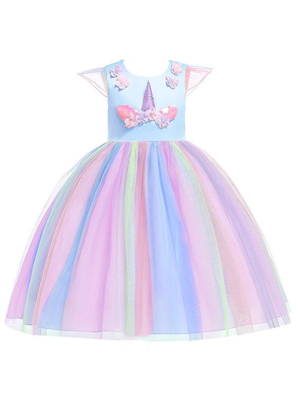 【2Y-11Y】Girls with Unicorn Lotus Leaf Sleeve Rainbow Dress