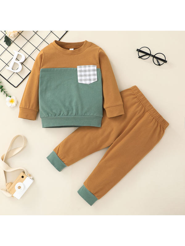 【6M-2.5Y】Baby Casual Long-sleeved Shirt Solid Color Trousers Two-piece Suit