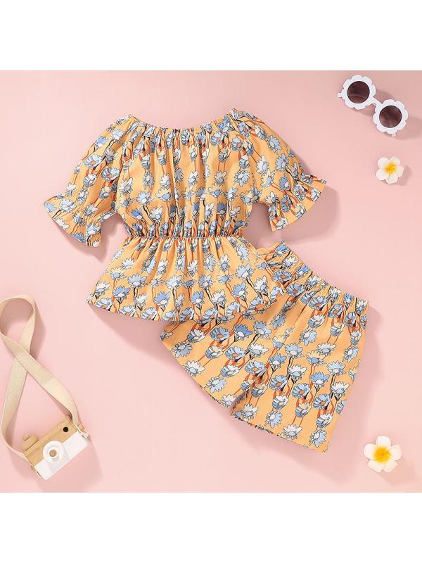 【12M-5Y】Girls Floral Print Orange Suits