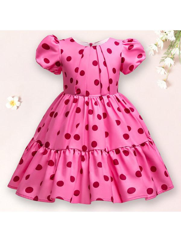 【12M-10Y】 Sweet Polka Dot Print Rose Red Dress