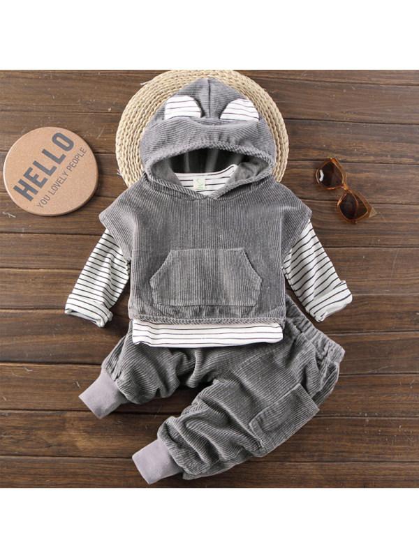 【12M-5Y】Boys Fashion Striped T-shirt Corduroy Vest And Pants Three-piece Set