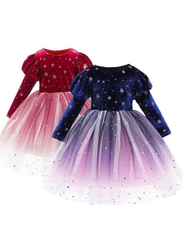 【2Y-10Y】 Sweet Star Print Velvet Mesh Dress