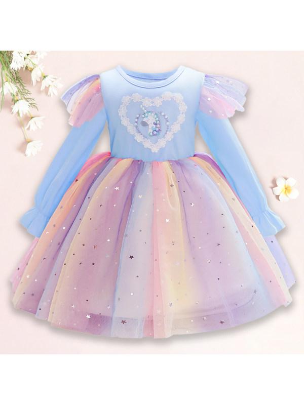 【2Y-10Y】 Sweet Cartoon Unicorn Rainbow Mesh Dress