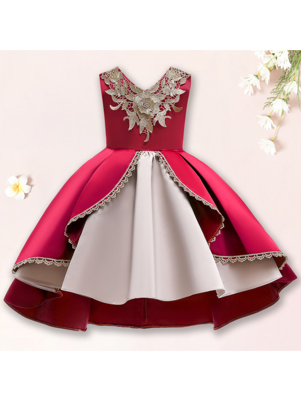 【2Y-10Y】 Sweet Golden Flowers Sleeveless Princess Dress