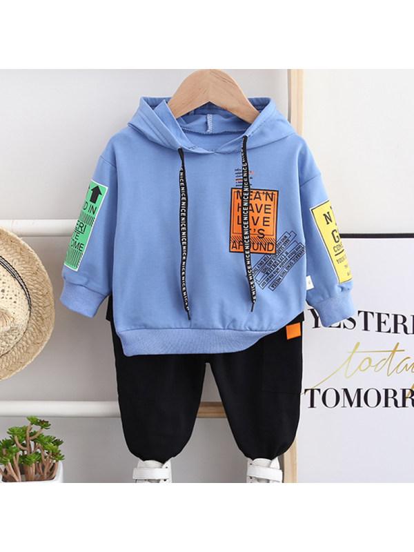 【12M-5Y】Boys Fashion Hooded Sweatshirt Pants Set