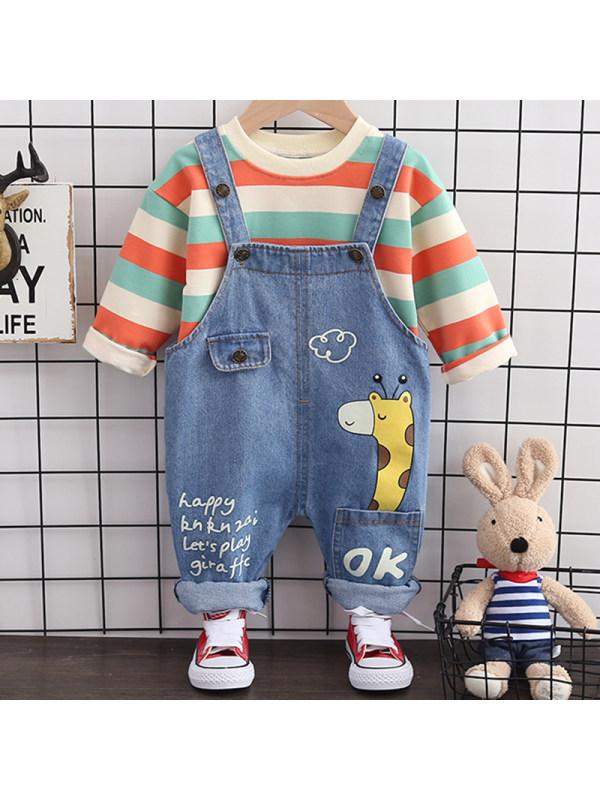 【12M-5Y】Boys Fashion Striped Sweatshirt Denim Overalls Suit