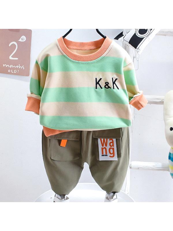 【12M-5Y】Boys Fashion Striped Sweatshirt Pants Set