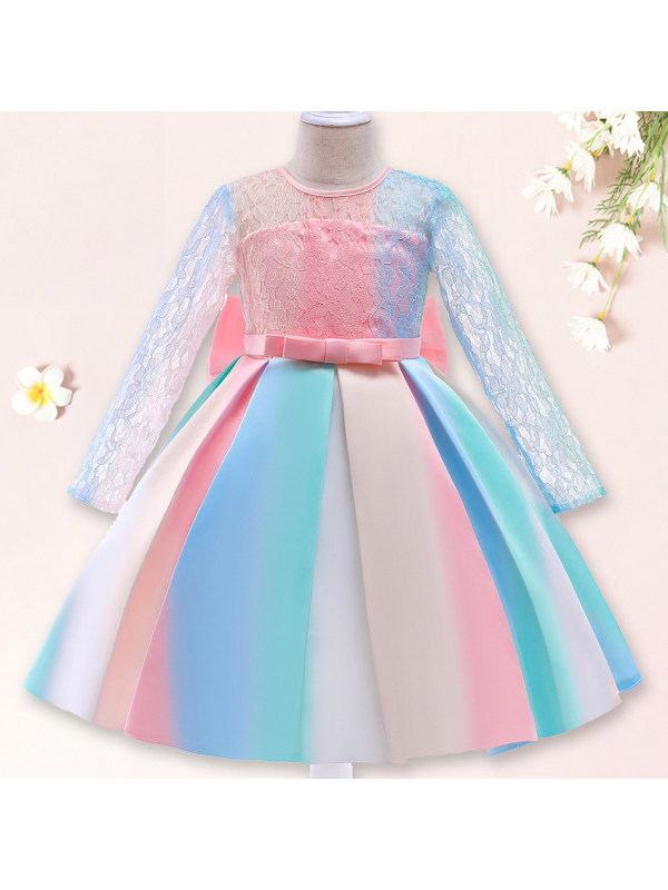 【3Y-11Y】 Girl Sweet Rainbow Mesh Princess Dress