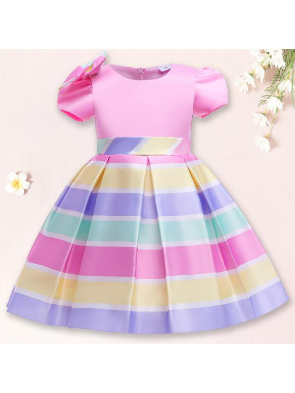 【2Y-10Y】 Sweet Bow Colorful Striped Dress