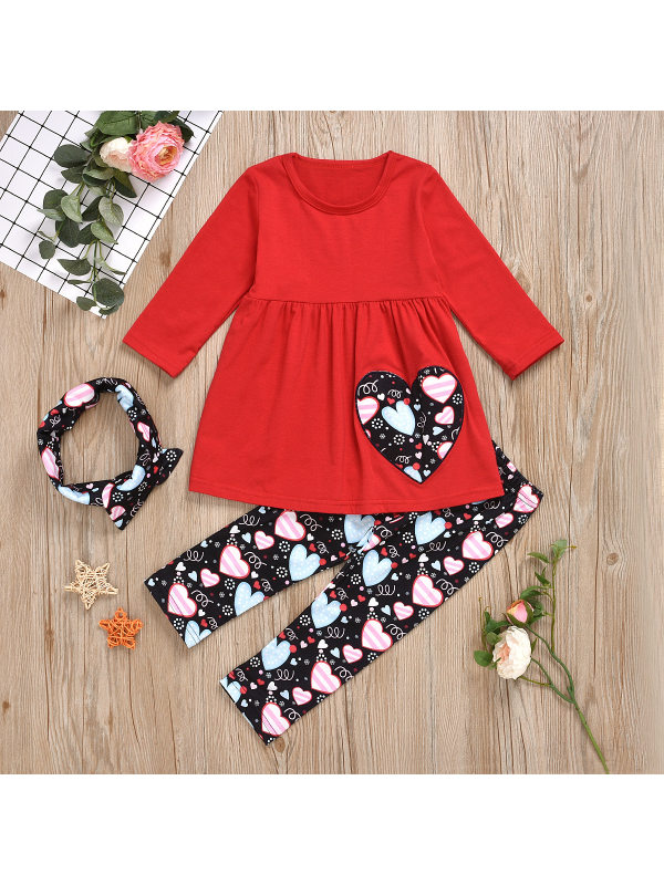 【12M-5Y】Girls Sweet Embroidered T-shirt And Floral Pants Set