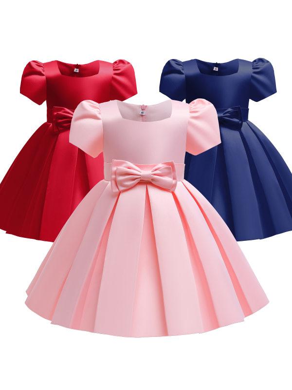 【2Y-10Y】 Girl Sweet Bow Puff Sleeve Dress