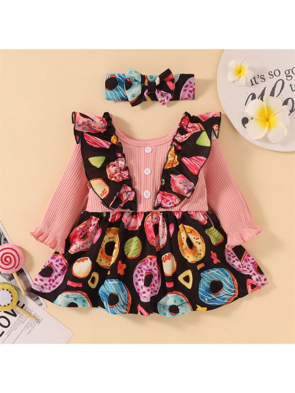 【0M-24M】Baby Cute Donut Long Sleeve Pink Dress