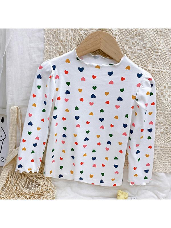 【18M-9Y】Girls Heart Shaped Print Long Sleeved T-shirt