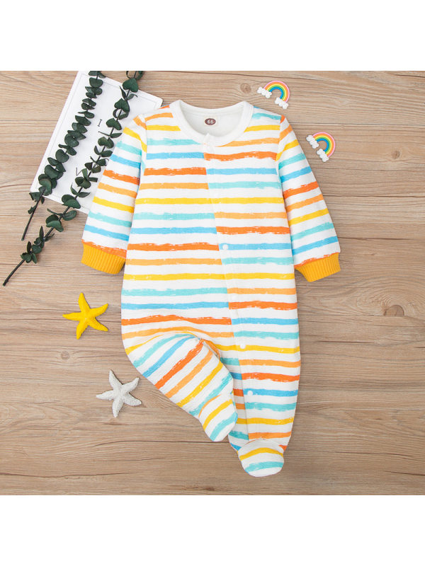 【0M-18M】Baby Cute Striped Long Sleeved Romper