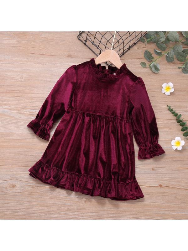 【18M-7Y】Girls Long Sleeve Velvet Dress