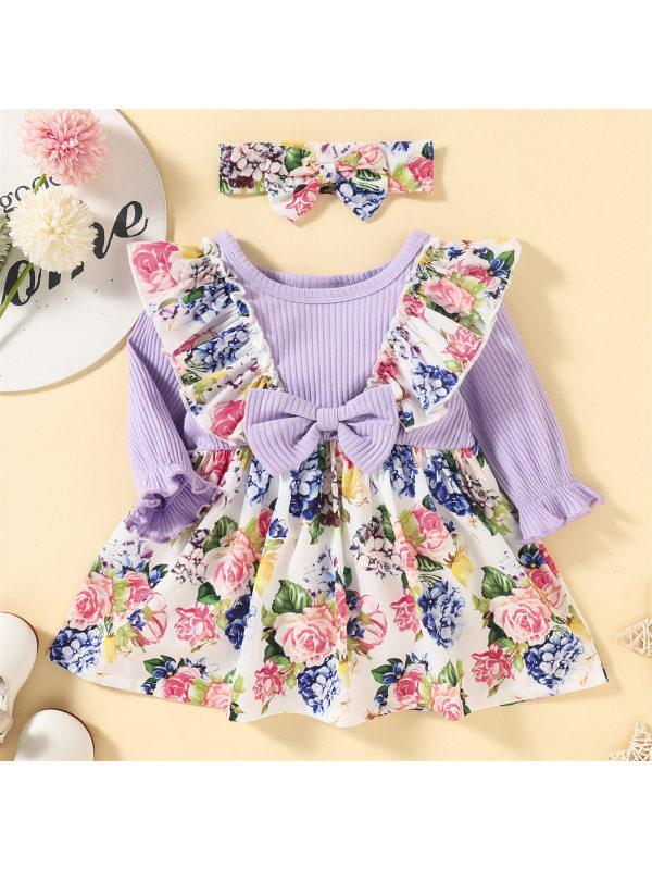【3M-24M】Baby Cute Flower Print Long Sleeve Dress