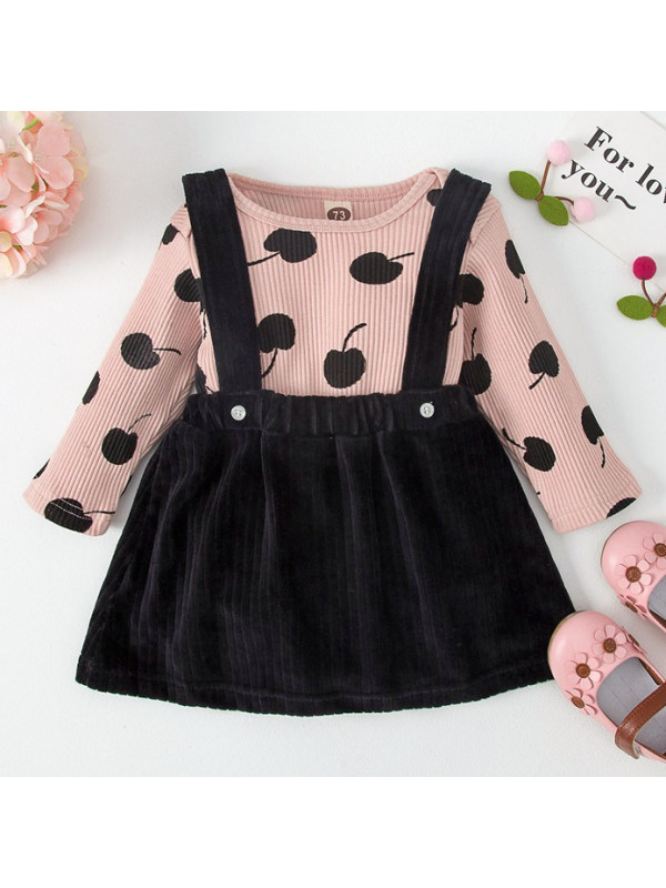 【3M-18M】Girls Cherry Print Romper And Solid Color Skirt Set
