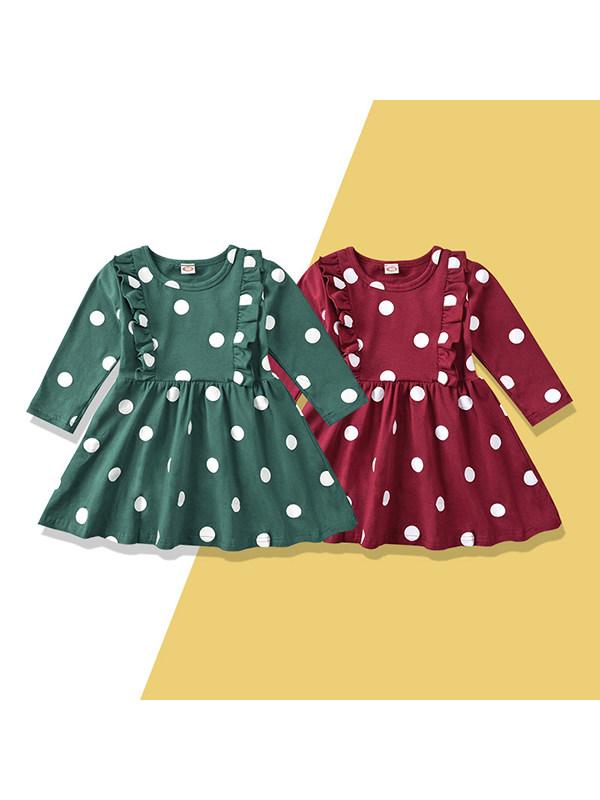 【18M-7Y】Girls Sweet Polka Dot Lotus Leaf Dress