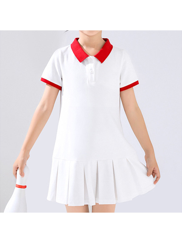 【2Y-13Y】Girls Solid Color Pleated Polo Dress