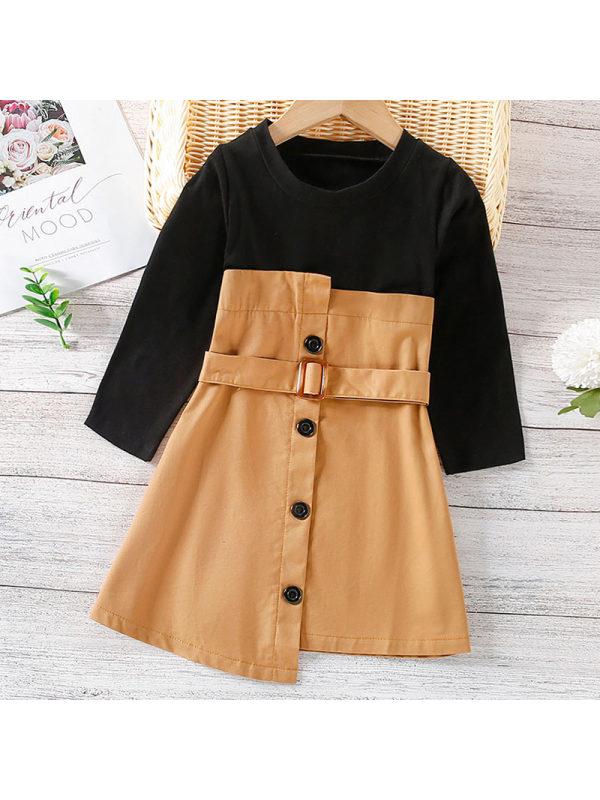 【18M-7Y】Girl Sweet Khaki Long Sleeve Dress